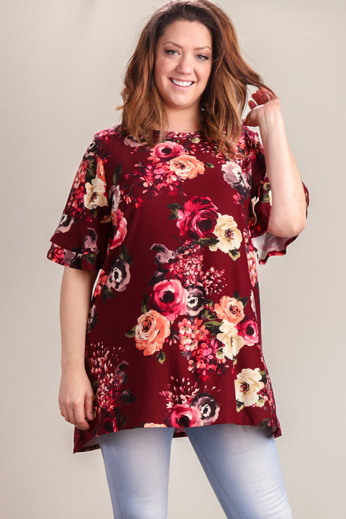 Plus Burgundy Green Floral Double Bell Sleeve Tunic
