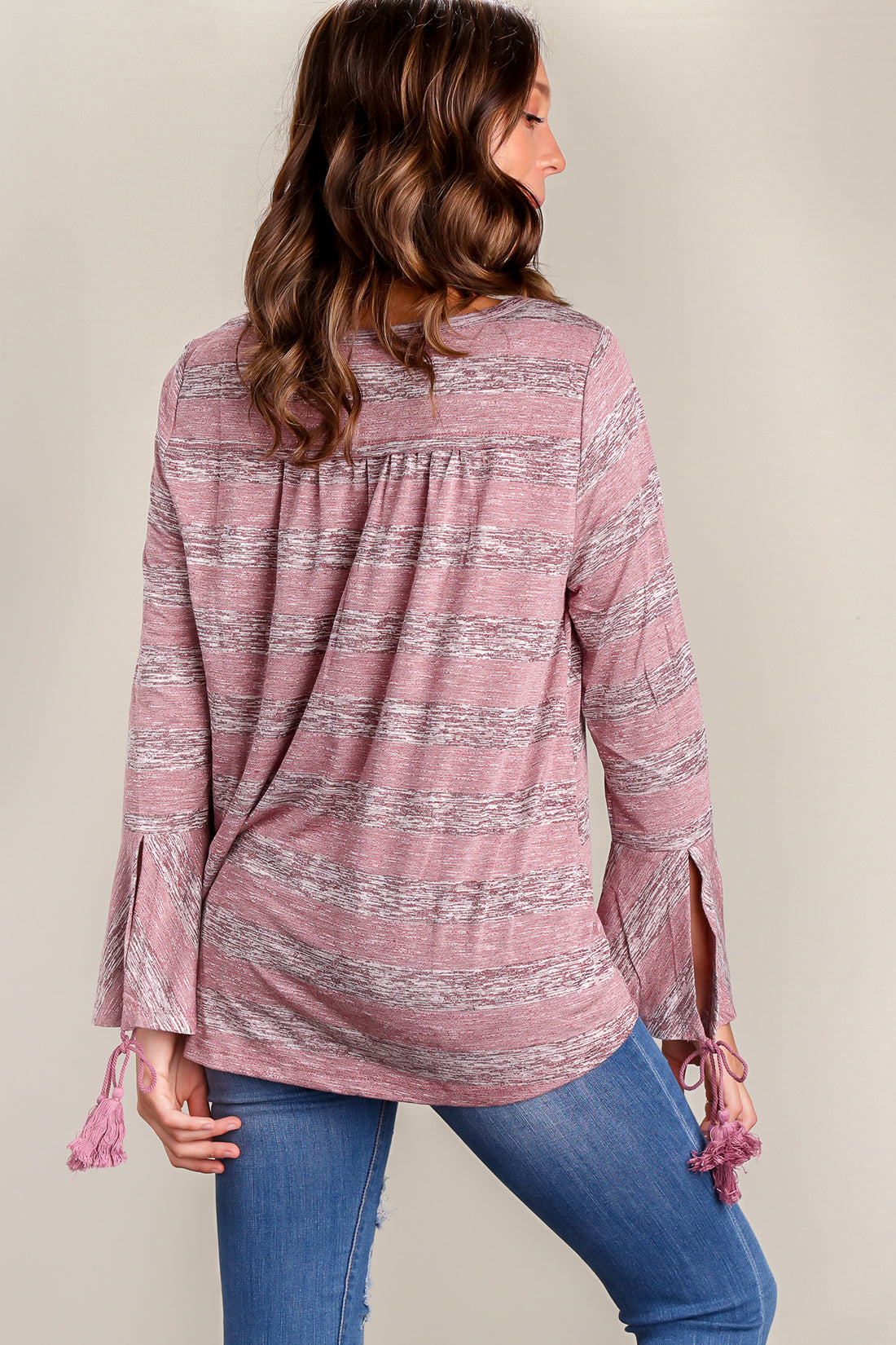 Mauve Stripe Design Tasseled Sleeve Blouse