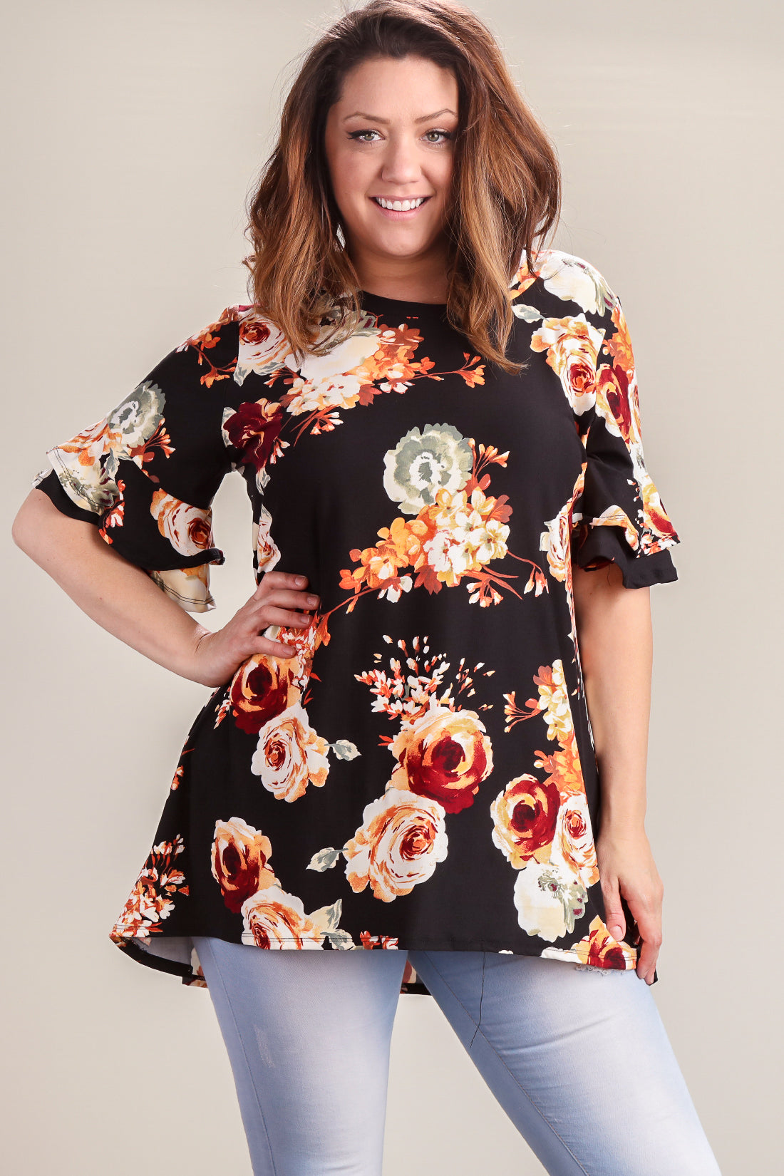 Plus Black Floral Double Bell Sleeve Tunic