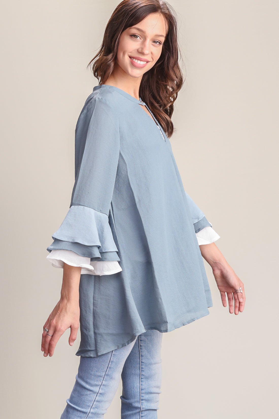 Blue Bell Sleeve Design Tunic