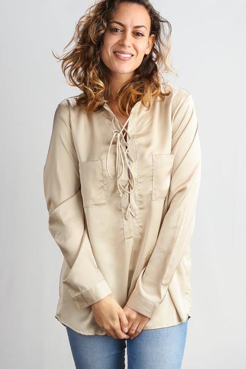 Taupe Silky Lace Up Blouse