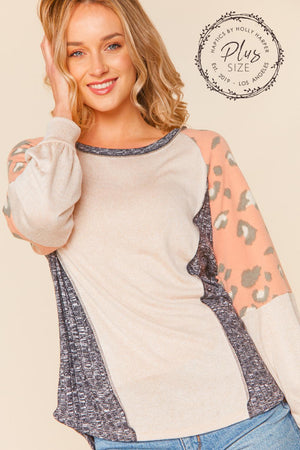 Plus Oatmeal Peach & Black Animal Print Raglan Dolman Blouse