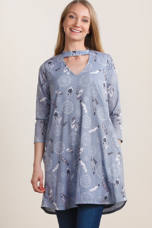 Grey Feather Print Pocketed Dress