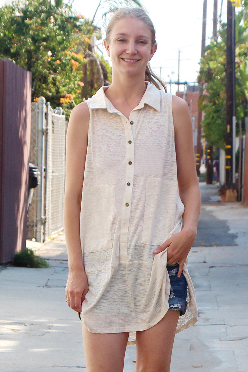 Taupe Button Down Collared Pocketed Tunic