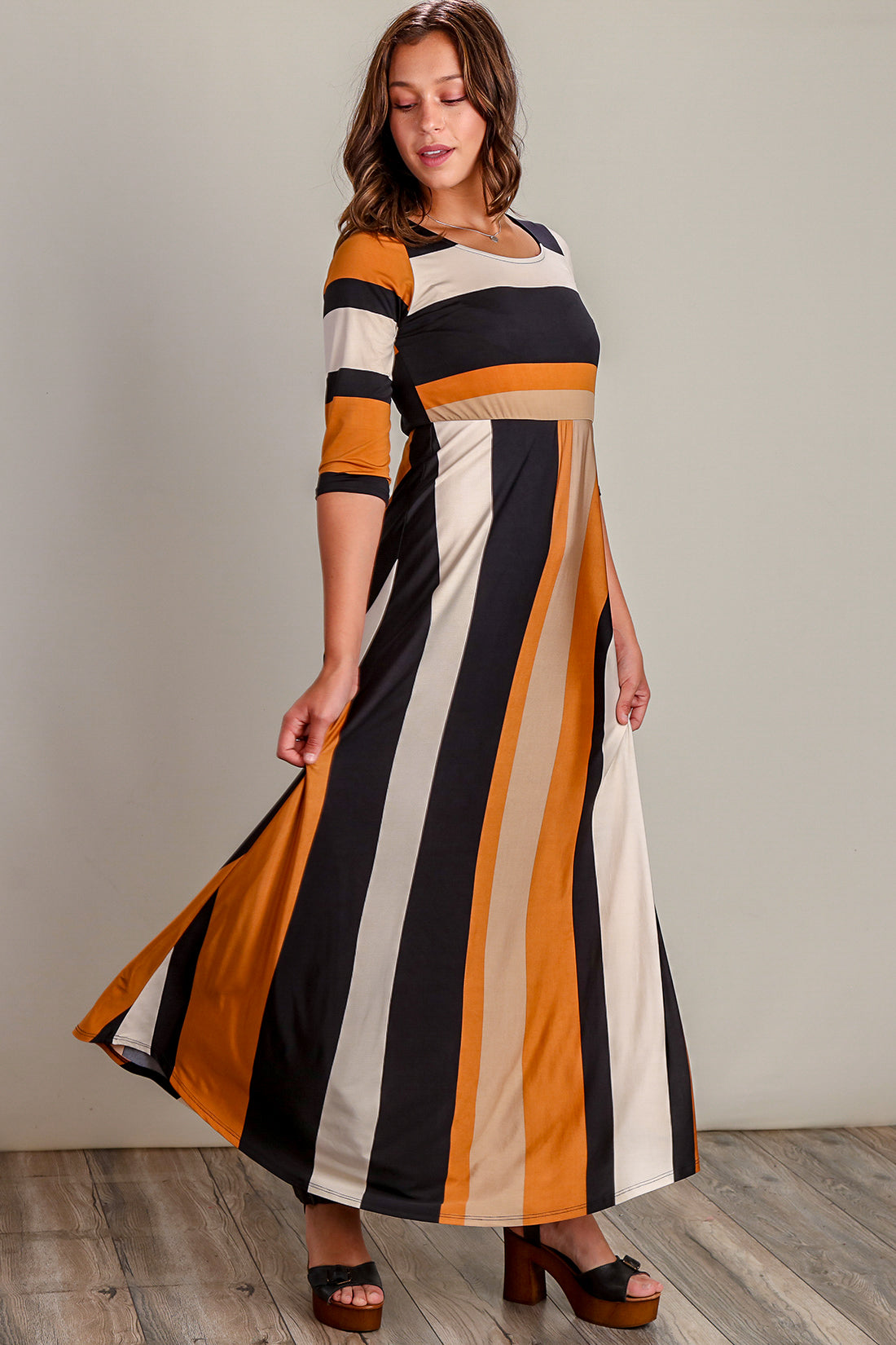Multi Stripe 3 4 Sleeve Maxi Dress Bloom Wholesale Clothing