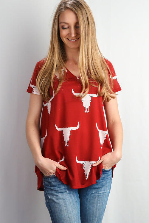 Red Cattle Print Top
