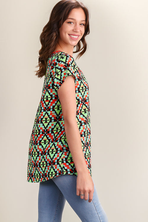 Green Printed Zip Back Blouse