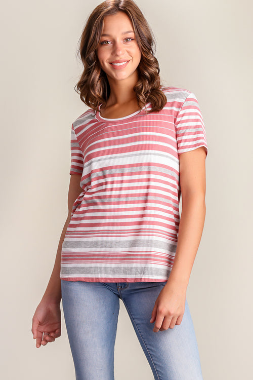 Blush Stripe Design Blouse