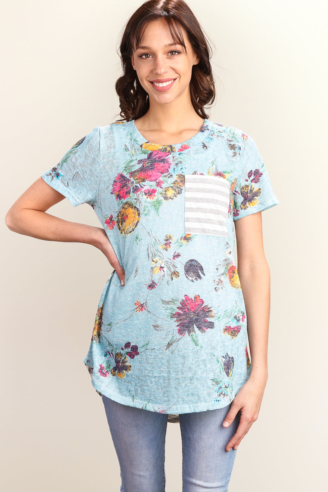 Sky Blue Floral Stripe Blouse