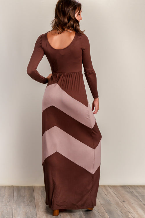 Brown Colorblock Maxi Dress
