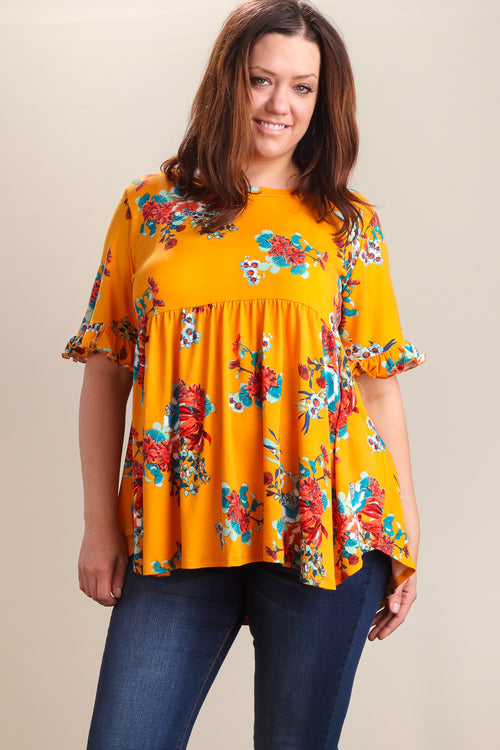 Plus Marigold Floral BabyDoll Bell Sleeve Tunic