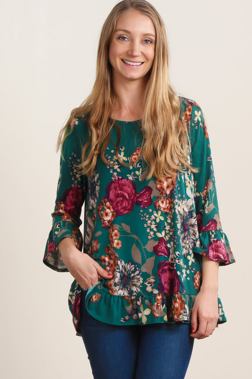 Emerald Green Bell Sleeve Floral Blouse