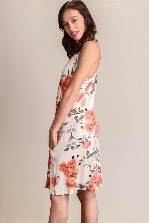 Ivory & Coral Floral Pocketed Dress