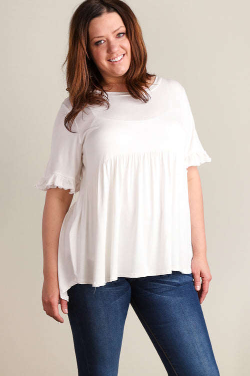 Plus Ivory BabyDoll Bell Sleeve Tunic