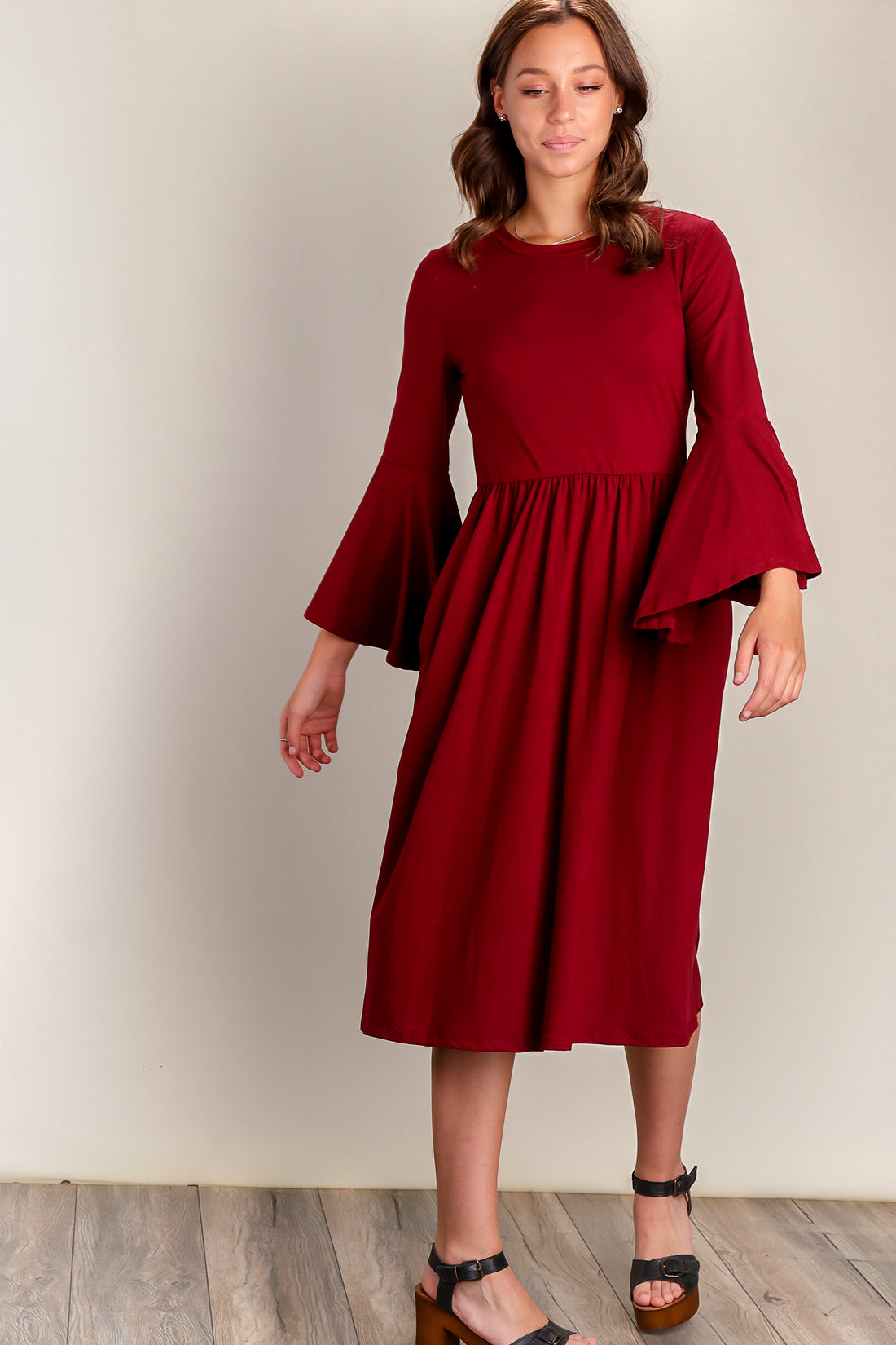 Wine Fit & Flare Bell Sleeve Pocketed Dress