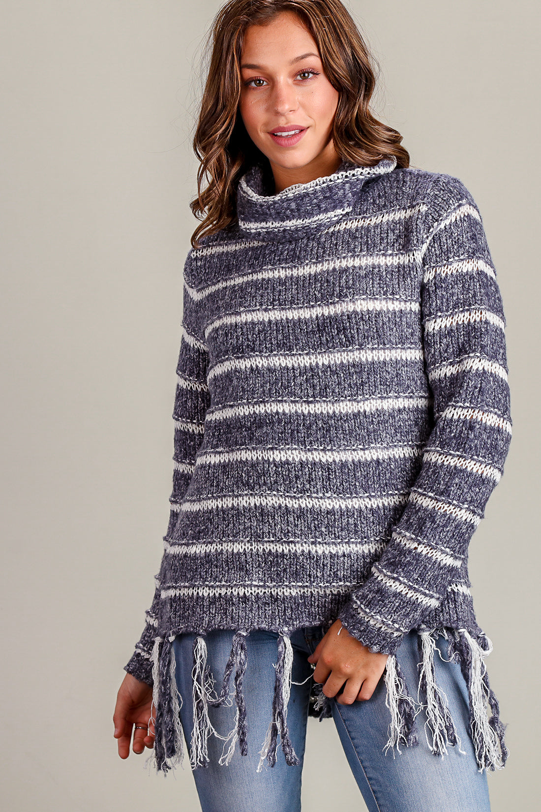 Navy Stripe Fringe Thick Sweater