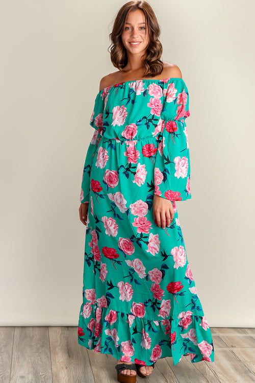 Green Floral Off Shoulder Lined Maxi Dress