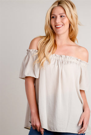 Taupe Off Shoulder Blouse