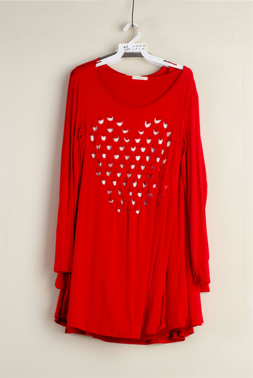 Red & White Heart Hole Top