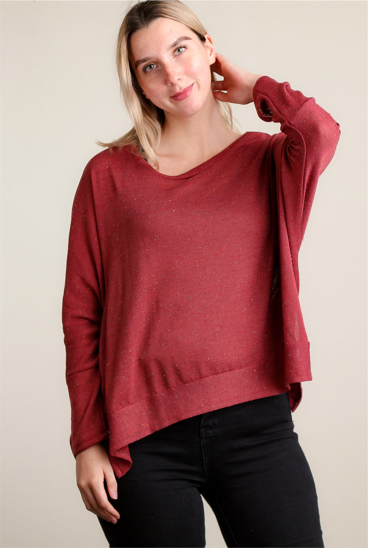 Rust Soft Round Neck Blouse
