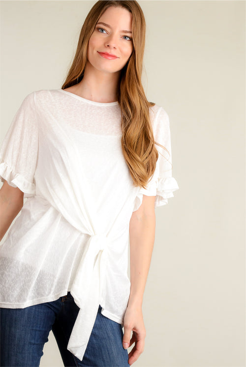 Ivory Breathable Bell Sleeve Tie Blouse