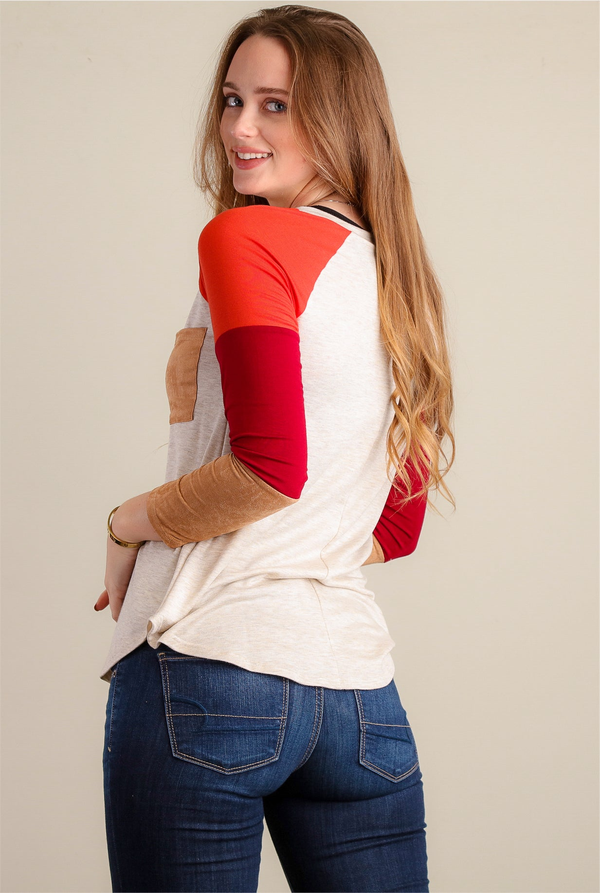 Oatmeal & Red Stripe Design Raglan