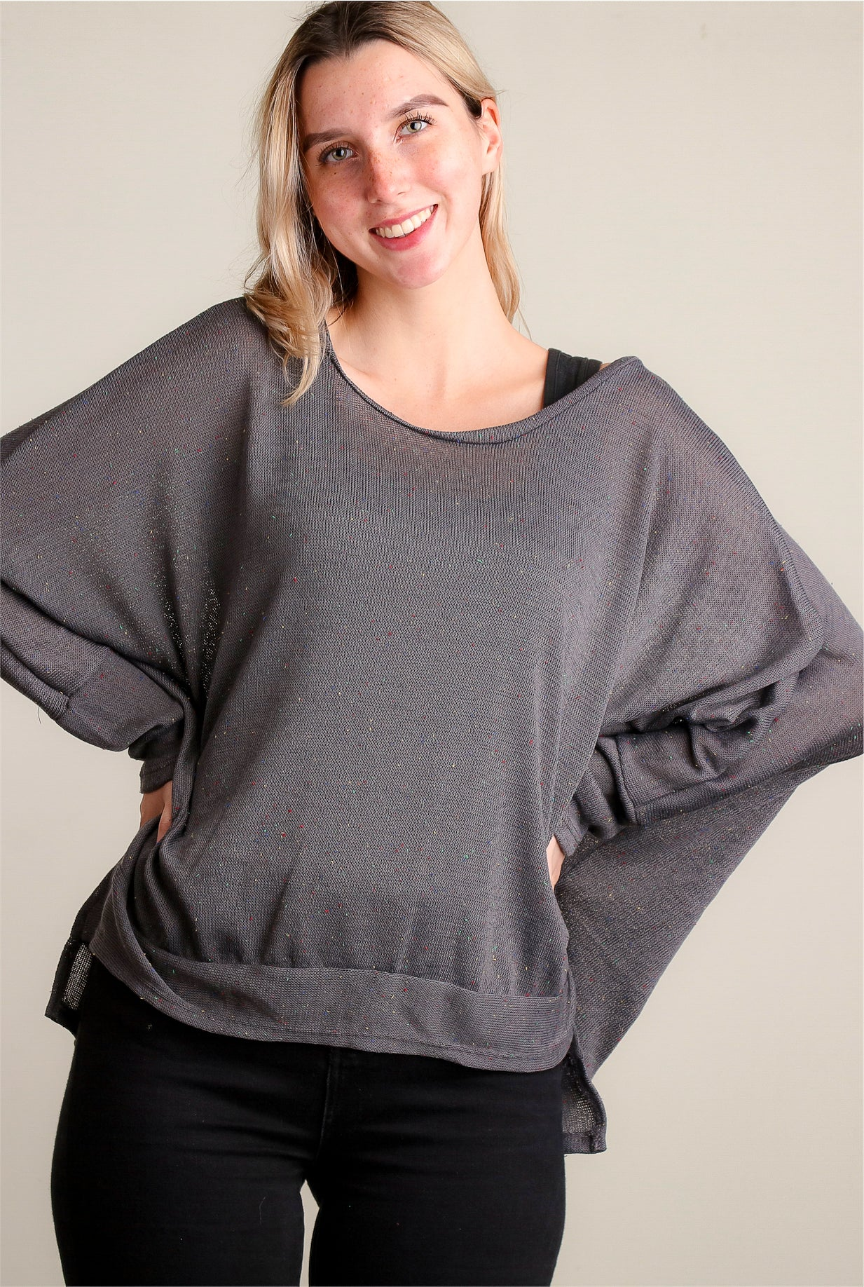Charcoal Soft Round Neck Dolman Blouse