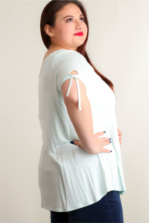 Plus Mint Tie Sleeve Blouse
