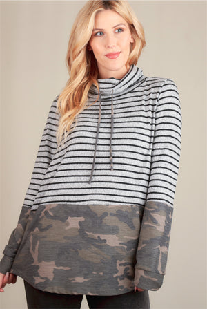 Stripe Camo Cowl Neck Sweater