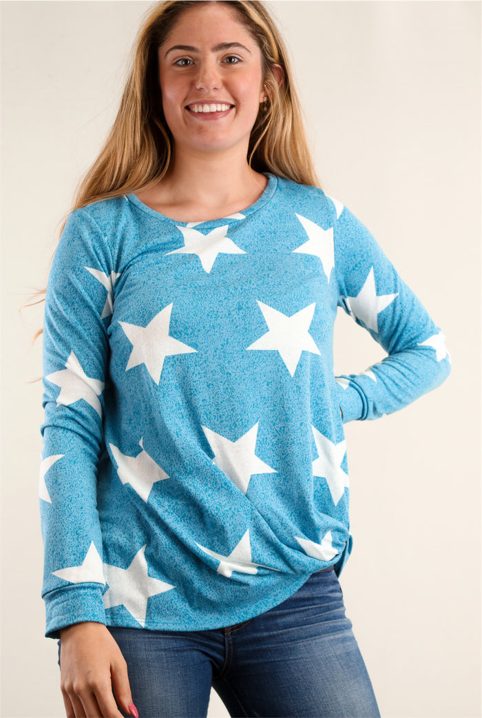 Blue Star Twist Hem Blouse