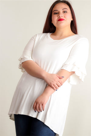 Plus Ivory Double Bell Sleeve Tunic