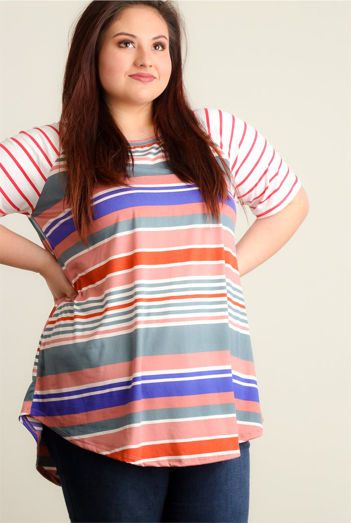 Plus Coral Multi Stripe Design Raglan