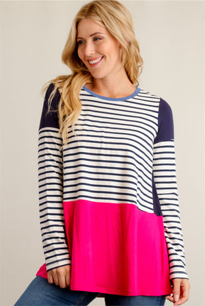 Stripe Navy Colorblock Blouse