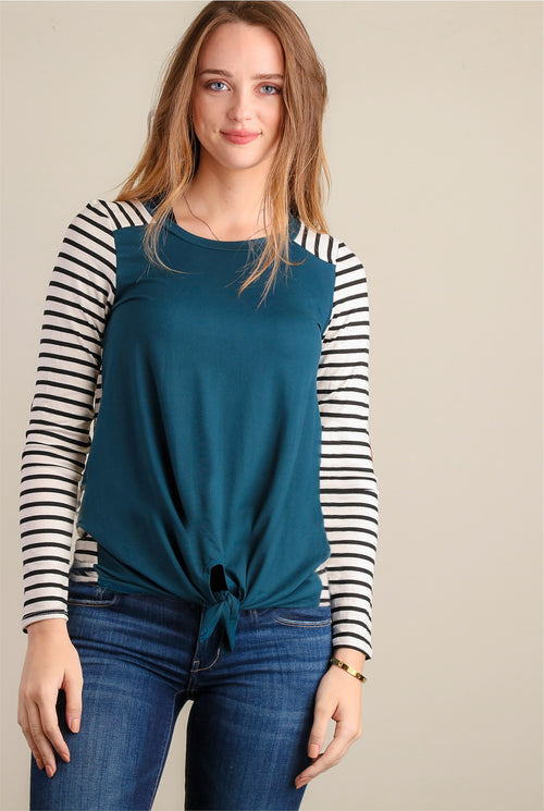 Teal Stripe Raglan Tie Hem Elbow Patch Blouse