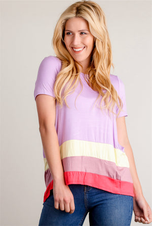Purple Colorblock Blouse