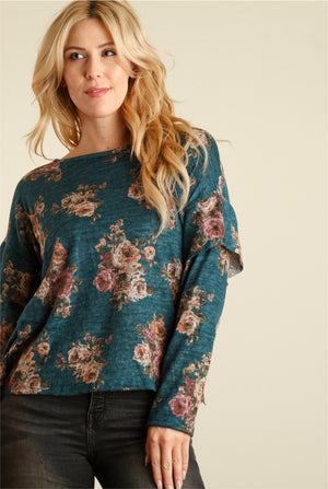 Teal Green Floral Sweater