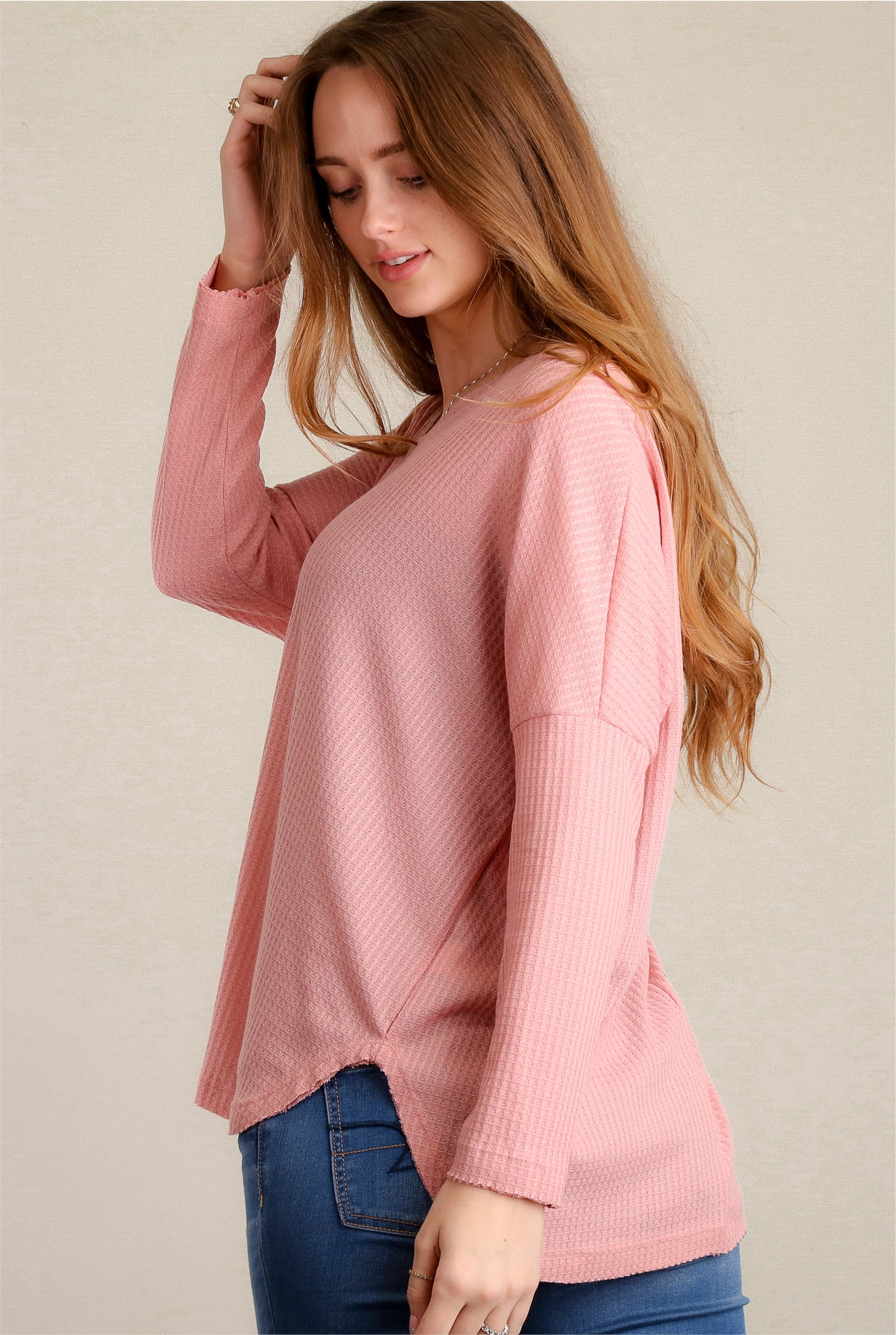 "Mauve Thermal V-Neck ""Entro"" Blouse"