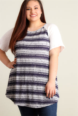 Plus Navy Stripe Raglan