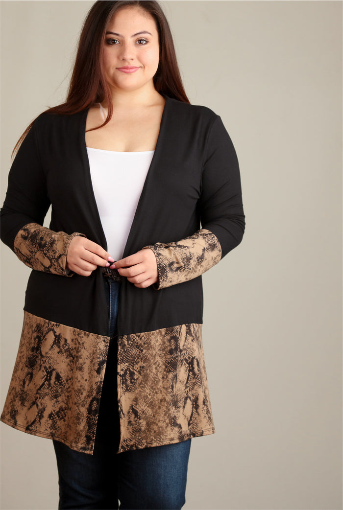 Plus Mocha & Black Snake Colorblock Cardigan