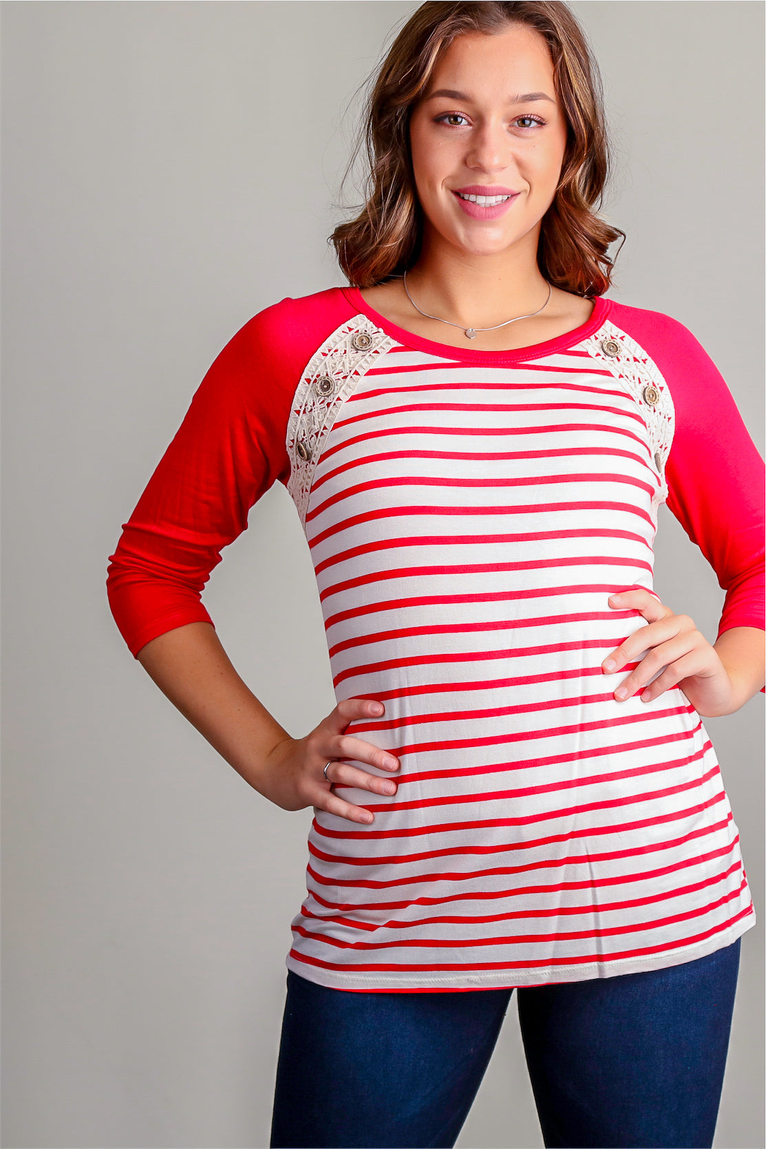 Red & Ivory Stripe Button Raglan