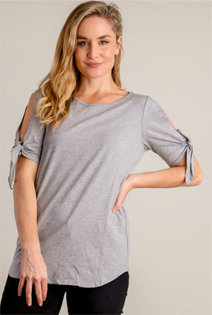 Grey Open Sleeve Tie Blouse