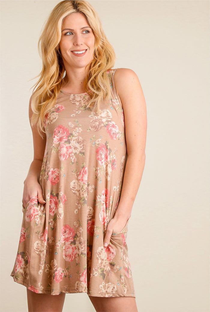Taupe Floral Pocketed Dress