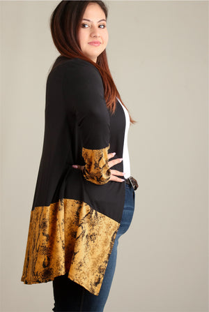 Plus Mustard & Black Snake Colorblock Cardigan