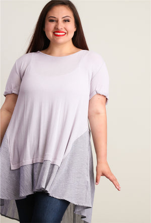Plus Grey Ruffle Hem Tunic