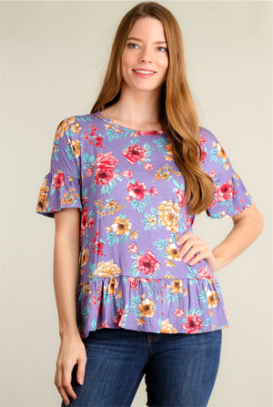 Purple Floral Ruffle Hem Blouse