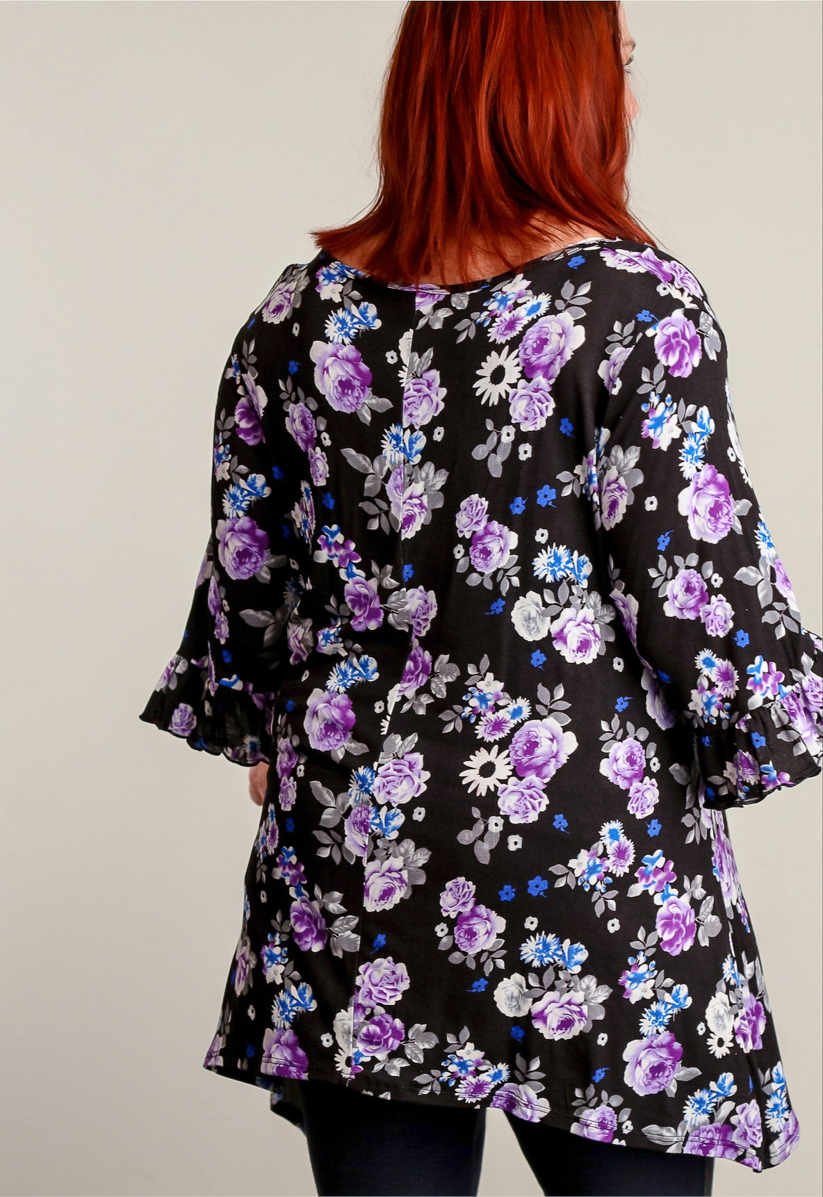 Plus Black Floral Printed Tunic
