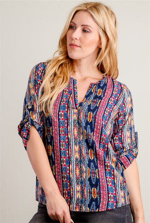 Navy Tribal Chiffon Blouse
