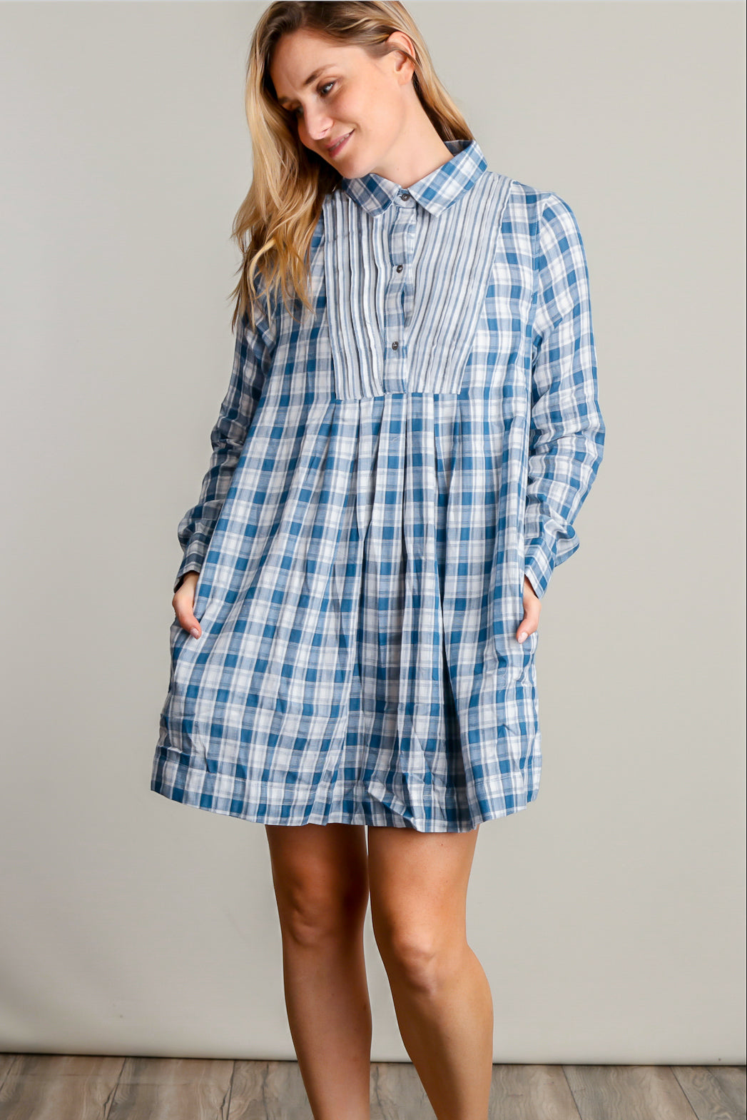 Blue Plaid Pocketed Dress