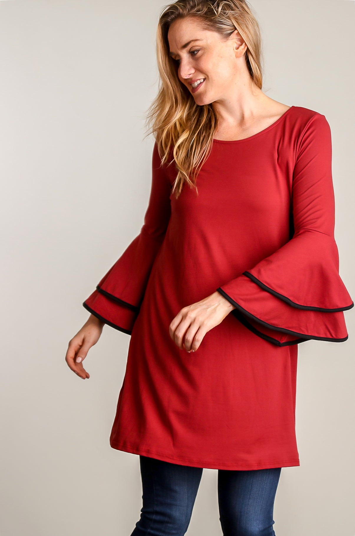 Rust Binding Bell Sleeve Tunic