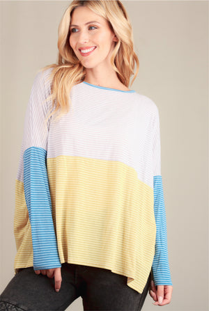 Yellow Stripe Colorblock Blouse